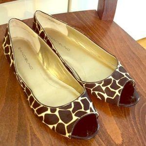 Animal print peep toe flats
